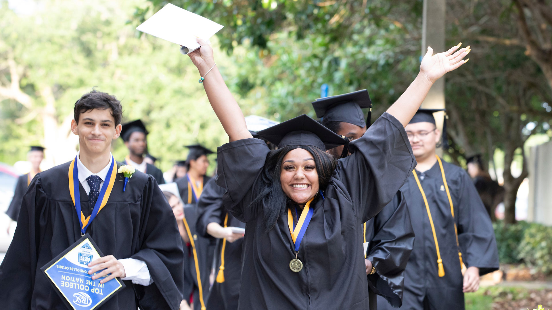 Students celebrate at the 2019 IRSC Adult Education Graduation.