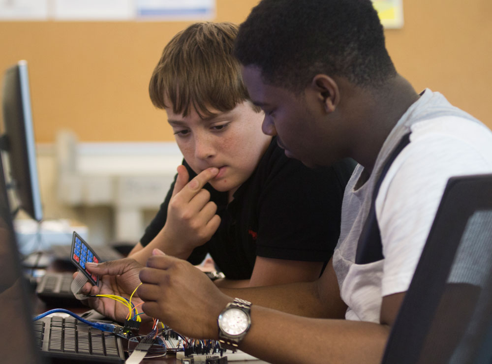 Students participate in an Arduino Bootcamp on the IRSC Main Campus in Fort Pierce.