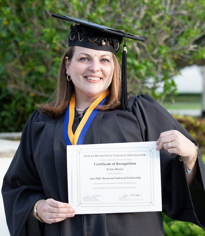 Krista Hussey of Okeechobee graduated from the IRSC Adult Education program in April 2019. Register now to earn your GED with IRSC.