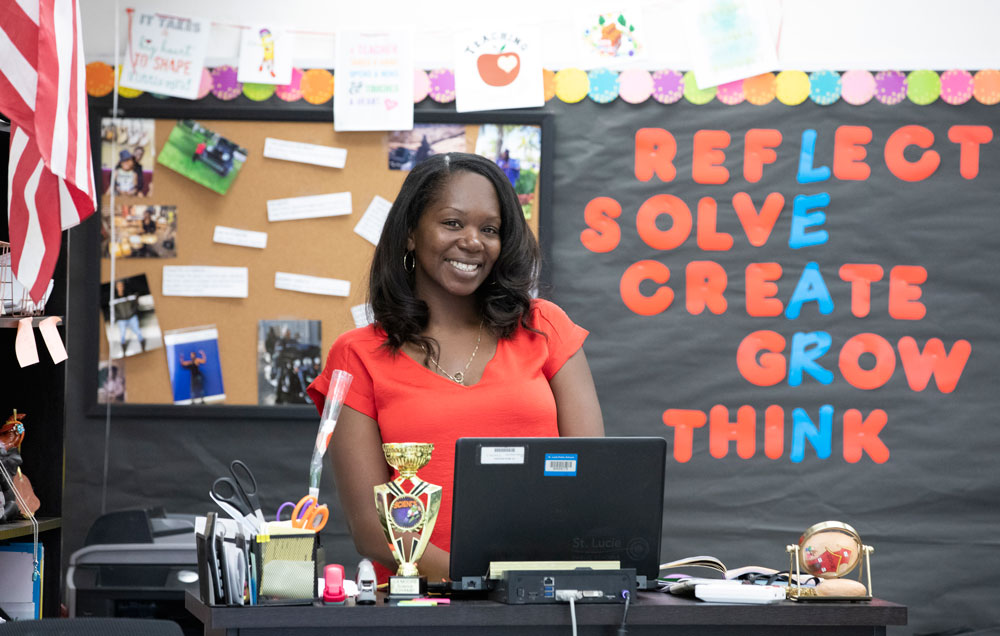 IRSC graduate Nikki Hart thrives as a fifth grade science teacher at Chester A. Moore Elementary in Fort Pierce.