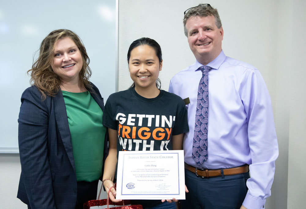 Callie Zheng of Lincoln Park Academy was the highest individual scorer in the 2019 Math Olympics at IRSC. She is pictured here with Dr. Heather Belmont, IRSC Vice President of Academic Affairs, and Dr. Anthony Dribben, IRSC Assistant Dean of Mathematics and Natural Sciences.